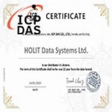 Сертификат официального дистрибьютора ICP DAS в Украине - компании ХОЛИТ Дейта Системс.